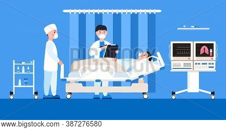 Reanimation Equipment For Unconscious Patients. Intensive Care Unit Clinic With Air Oxygen Sensor Fo