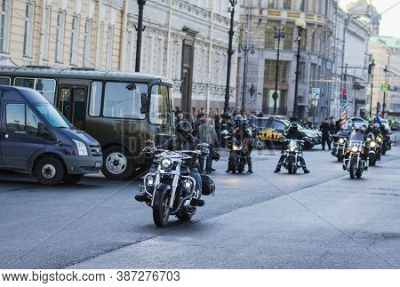 St Petersburg, Russia-september 26, 2020: Bikers On The City Streets. Bikers Arriving To The Square