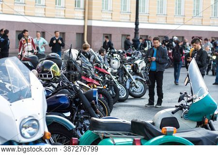St Petersburg, Russia-september 26, 2020: Shining Colorfull Bikes Are On The Palace Square During Mo