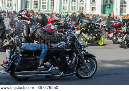 St Petersburg, Russia-september 26, 2020: Annual Motorcycles Festival On Palace Square, Dedicated To