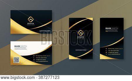 Black And Golden Premium Business Card Vector Design Illustration