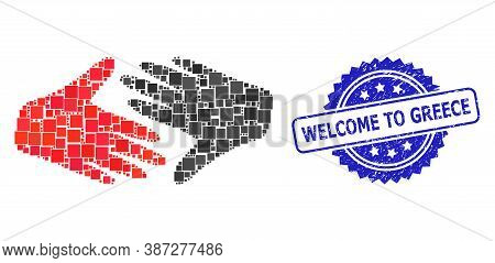 Vector Collage Fair Trade Handshake, And Welcome To Greece Dirty Rosette Seal Print. Blue Seal Has W