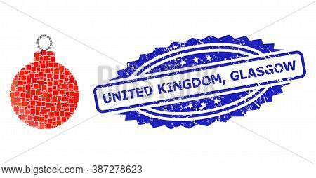 Vector Mosaic Christmas Ball, And United Kingdom, Glasgow Dirty Rosette Stamp. Blue Stamp Seal Conta
