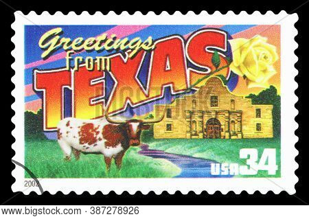 United States Of America - Circa 2002: A Postage Stamp Printed In Usa Showing An Image Of The Texas