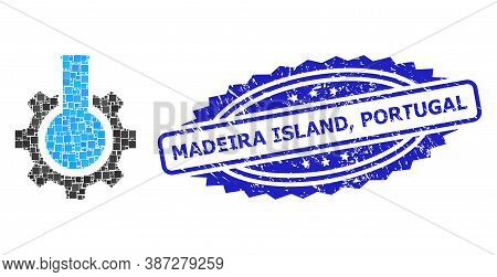 Vector Collage Chemical Industry, And Madeira Island, Portugal Grunge Rosette Stamp Seal. Blue Stamp