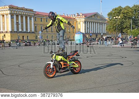 Saint Petersburg. Russia. September 26. 2020.a Biker Festival Is Taking Place. A Biker Demonstrates