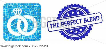 Vector Collage Diamond Wedding Rings, And The Perfect Blend Textured Rosette Seal Print. Blue Stamp