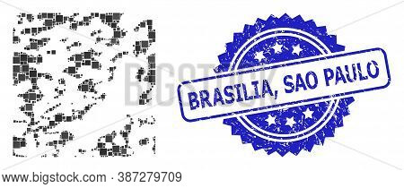 Vector Mosaic Destructed, And Brasilia, Sao Paulo Textured Rosette Seal. Blue Seal Includes Brasilia