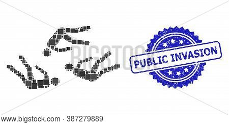 Vector Collage Dead People, And Public Invasion Corroded Rosette Stamp Seal. Blue Seal Has Public In