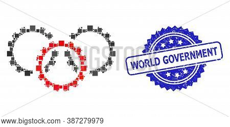Vector Collage Gears, And World Government Scratched Rosette Watermark. Blue Stamp Seal Contains Wor