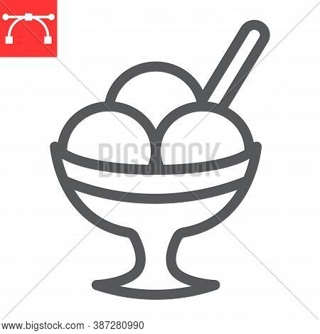 Ice Cream In Bowl Line Icon, Dessert And Cold, Sorbet Sign Vector Graphics, Editable Stroke Linear I