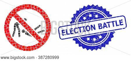 Vector Collage Forbidden Judo Struggle, And Election Battle Scratched Rosette Seal Imitation. Blue S