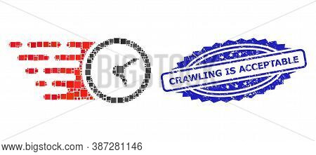 Vector Mosaic Clock, And Crawling Is Acceptable Grunge Rosette Stamp Seal. Blue Stamp Has Crawling I