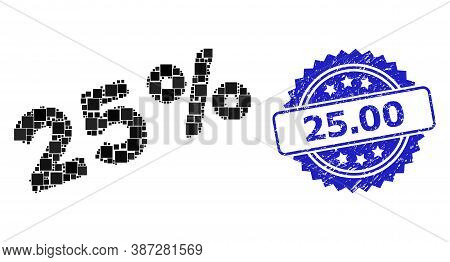 Vector Collage 25 Percents, And 25.00 Scratched Rosette Stamp. Blue Stamp Seal Contains 25.00 Tag In