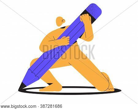Abstract Yellow Character Hold Big Pencil In Hands. Trendy Minimalistic Person For Ui, Web Design. D