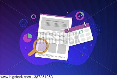 Project Management - Content Sheduler Modern Vector Illustration. Digital Smm (social Media Marketin