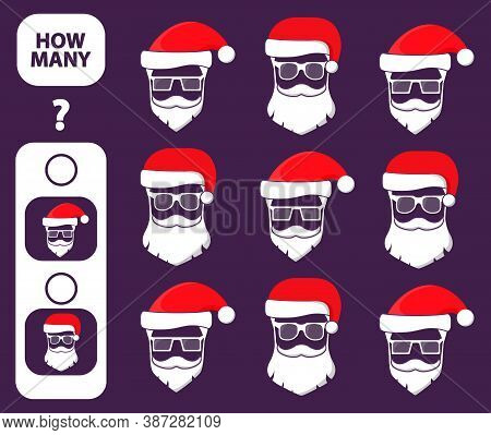 Count How Many Santa Claus Is Educational Game. Maths Task Development Of Logical Thinking Of Childr