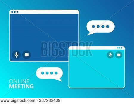 Video Call Business Meeting Business. Remote Work. Online Webinar. Online Technology Concept Vector