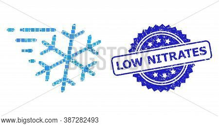 Vector Collage Frost Wind, And Low Nitrates Dirty Rosette Seal Imitation. Blue Stamp Seal Includes L