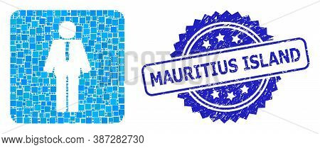 Vector Mosaic Groom, And Mauritius Island Dirty Rosette Stamp Seal. Blue Seal Includes Mauritius Isl