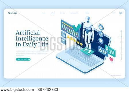 Artificial Intelligence In Daily Life Banner. Chat Bot, Digital Assistant Concept. Vector Landing Pa