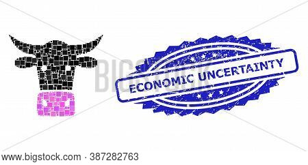 Vector Collage Cow Head, And Economic Uncertainty Scratched Rosette Stamp Seal. Blue Stamp Seal Has