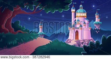 Pink Magic Castle, Princess Or Fairy Palace At Night Mountains With Road Lead To Gates With Flying T
