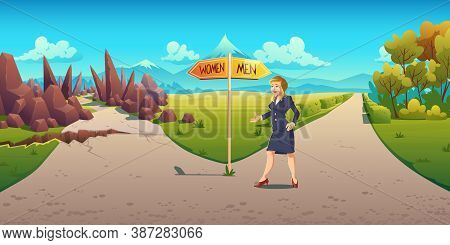 Sexism And Discrimination In Career Growth. Business Woman Stand At Road Fork Pointing Easy Way For