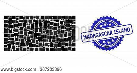 Vector Mosaic Filled Rectangle, And Madagascar Island Rubber Rosette Seal. Blue Seal Has Madagascar