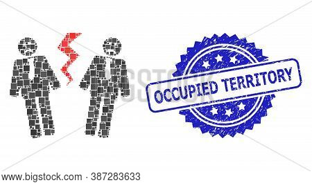 Vector Collage Businessmen Conflict, And Occupied Territory Corroded Rosette Stamp Seal. Blue Stamp