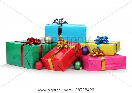 Gift boxes and christmas balls,Isolated on white.