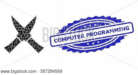 Vector Mosaic Crossing Knives, And Computer Programming Rubber Rosette Stamp Seal. Blue Stamp Seal H