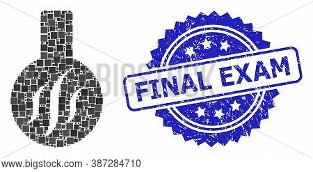 Vector Mosaic Chemical Aroma, And Final Exam Textured Rosette Stamp. Blue Stamp Seal Includes Final