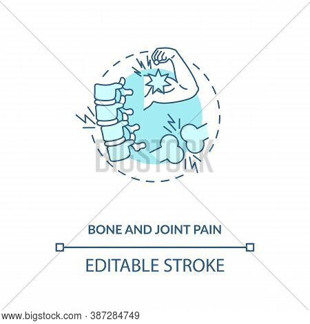 Bone And Joint Pain Concept Icon. Vitamin Shortages Symptom Idea Thin Line Illustration. Anti-inflam