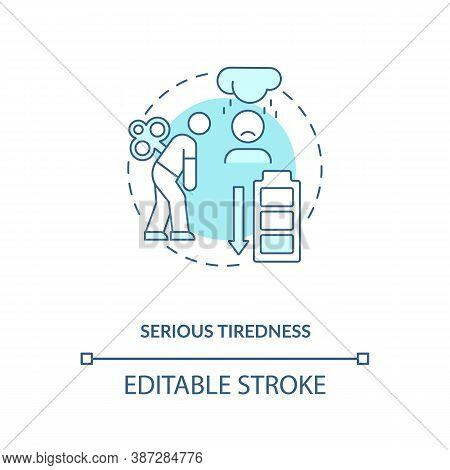 Serious Tiredness Concept Icon. Vitamin Shortages Symptom Idea Thin Line Illustration. Unrelenting E