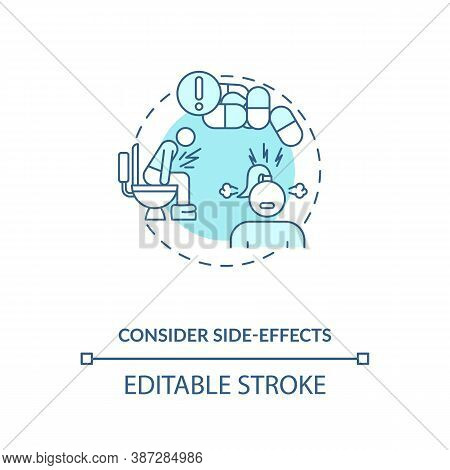 Consider Side-effects Concept Icon. Adequate Vitamins Intake Idea Thin Line Illustration. Health Con