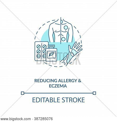 Reducing Allergy And Eczema Concept Icon. Probiotics Health Benefits Idea Thin Line Illustration. Se
