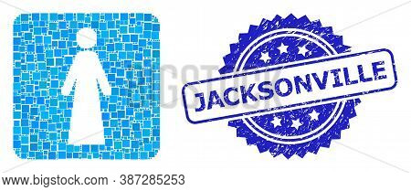 Vector Collage Bride, And Jacksonville Textured Rosette Stamp Seal. Blue Stamp Contains Jacksonville