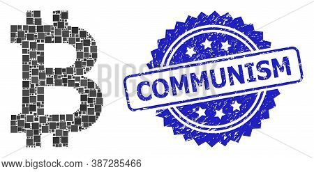 Vector Collage Bitcoin, And Communism Rubber Rosette Stamp. Blue Stamp Has Communism Tag Inside Rose