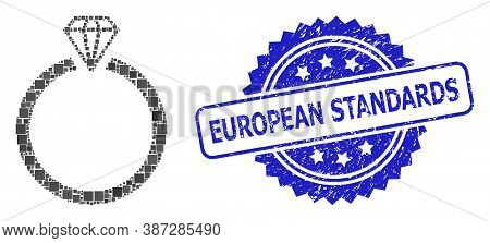 Vector Mosaic Diamond Ring, And European Standards Unclean Rosette Stamp. Blue Stamp Seal Has Europe