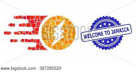 Vector Collage Electric Charge, And Welcome To Jamaica Scratched Rosette Seal Print. Blue Seal Inclu