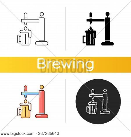 Draught Beer Icon. Pouring Lager In Mug. Beverage From Bar. Pub Menu. Drink Stout From Glassware. Cr