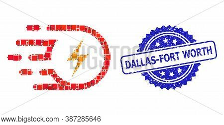 Vector Mosaic Electric Strike, And Dallas-fort Worth Dirty Rosette Seal Print. Blue Seal Includes Da