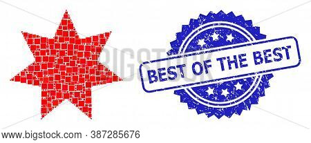 Vector Collage Eight Corner Star, And Best Of The Best Dirty Rosette Stamp Seal. Blue Stamp Seal Con