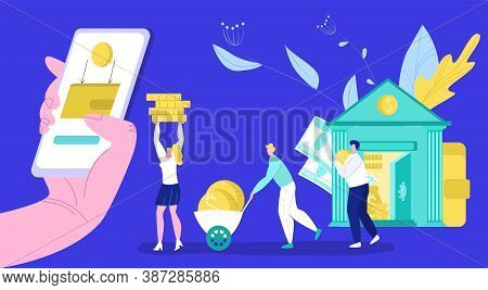 Bank Operations With Money Flat Vector Illustration. Banking, Cash Deposit Opening, Currency Exchang