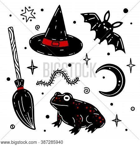 Broom, Hat, Moon, Bat, Frog Hand Drawn Vector Illustration. Halloween Vector Set. Collection Of Hall