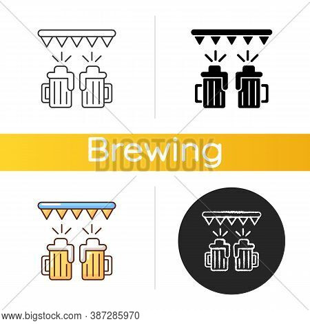 Beer Festival Icon. Fest With Ale At Bar. Pub Party With Booze. Alcoholic Drinks For Celebration. To