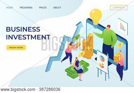 Business Investment And Finance Web Landing Page, Vector Illustration. Businessman Analyzing Investi
