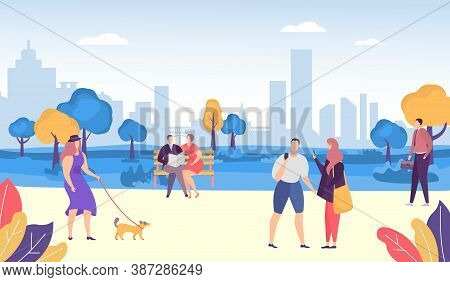 People In Park, Casual Lifestyle Vector Illustration. Young People Having Fun, Walking The Dog, Man