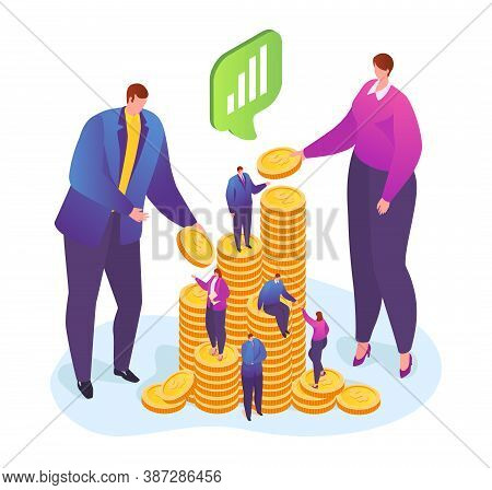 Financial Support, Businessman Gives Man Gold Coins Vector Illustration. Receiving Money. Transfer O